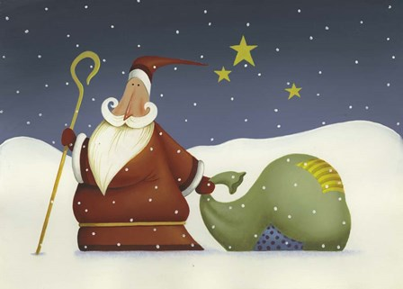 Santa and his staff by Margaret Wilson art print