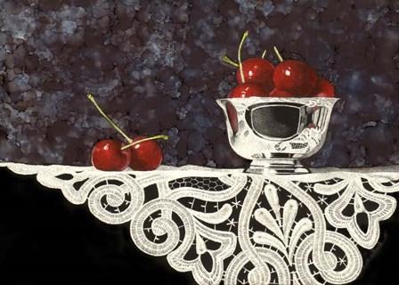 Bowl Of Cherries With Lace by Sandra Willard art print