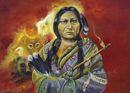 Sitting Bull Peace Pipe Visions by Sue Clyne art print