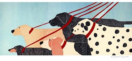 Dog Walker by Stephen Huneck art print