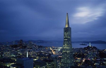 Transamerica Pyramid, Coit Tower, San Francisco, California by Panoramic Images art print