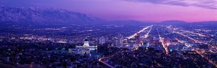 Salt Lake City at Night, Utah by Panoramic Images art print