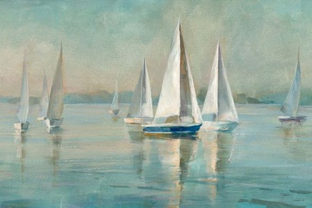Sailboats at Sunrise by Danhui Nai art print