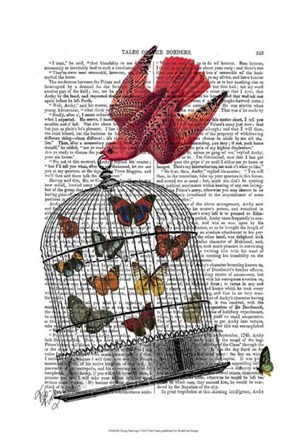 Flying Birdcage by Fab Funky art print