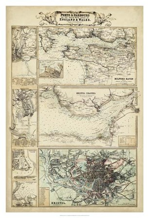 Map of the Coast of England II art print
