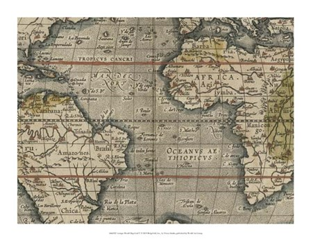 Antique World Map Grid V by Vision Studio art print