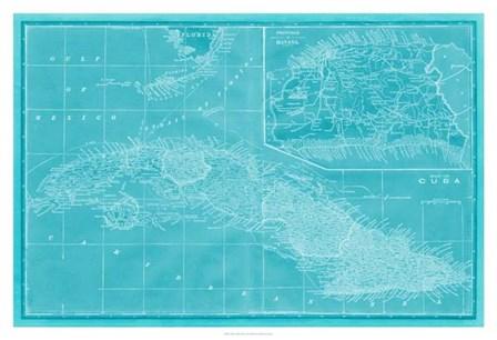Map of Cuba in Aqua by Vision Studio art print