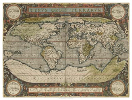 Antique World Map 36x48 by Vision Studio art print
