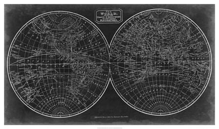Blueprint of the World in Hemispheres by Vision Studio art print