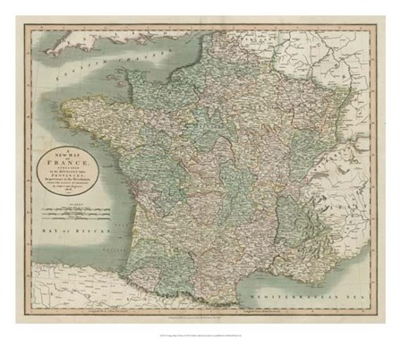 Vintage Map of France by John Cary art print