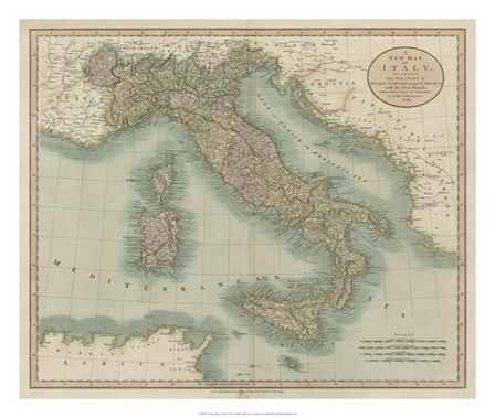 Vintage Map of Italy by John Cary art print