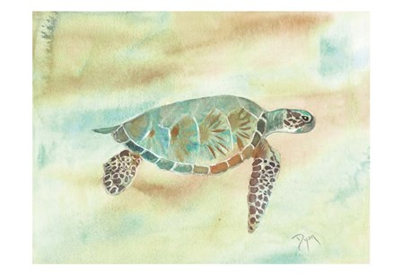 Crystal Tone Sea Turtle by Beverly Dyer art print