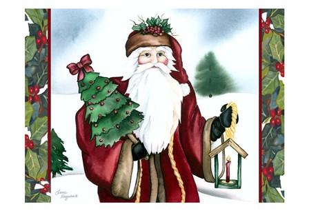 Father Christmas by Laurie Korsgaden art print