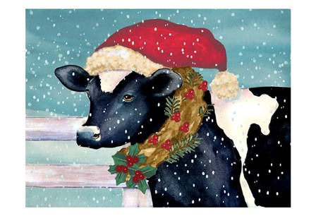 Christmas Cow by Laurie Korsgaden art print