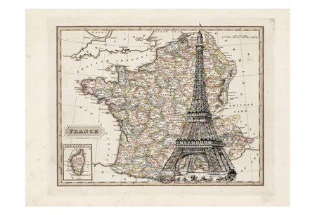 Eiffel Tower Map by Tina Carlson art print
