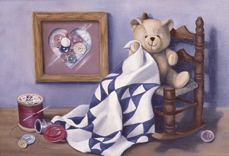 Teddy & Red Button 2 by Cecile Baird art print