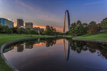 Gateway Arch Reflection Sunset by Galloimages Online art print
