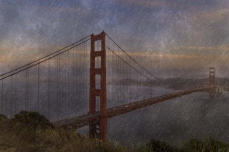 Golden Gate Bridge Rain Painterly by Galloimages Online art print