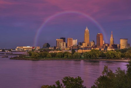 Rainbow over Cleveland by Galloimages Online art print