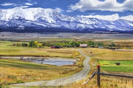Montana Farm (Watercolor) by Galloimages Online art print