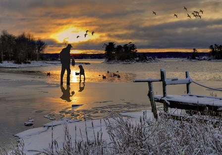Hunter In Snowy Lake by Clarence Stewart art print