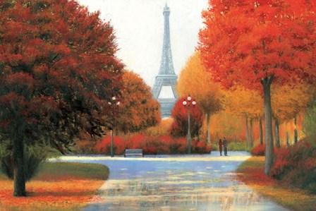Autumn in Paris Couple by James Wiens art print