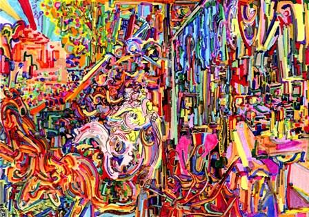 Awe Rides A Burning Steed by Josh Byer art print