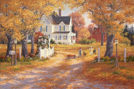 Autumn Leaves And Laughter by Randy Van Beek art print