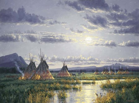 Moonlit Encampment by Randy Van Beek art print