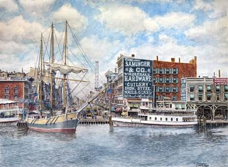 Detroit Water Front 1896 by Stanton Manolakas art print