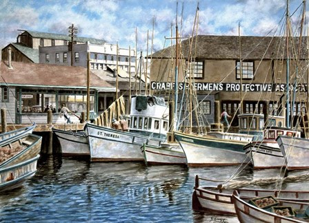 San Francisco Fishrman's Wharf 1941 by Stanton Manolakas art print