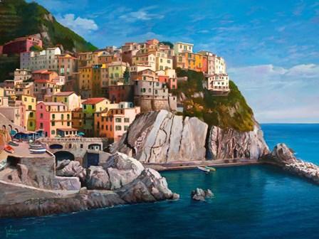 Manarola (Le Cinque Terre) by Adriano Galasso art print