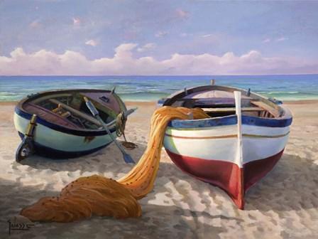 Barche sulla Spiaggia by Adriano Galasso art print