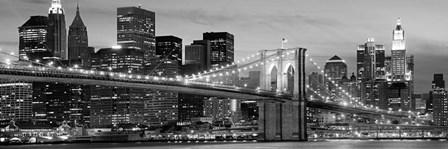 Brooklyn Bridge at Night (Detail) art print