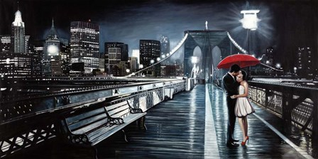 Kissing on Brooklyn Bridge II by Pierre Benson art print
