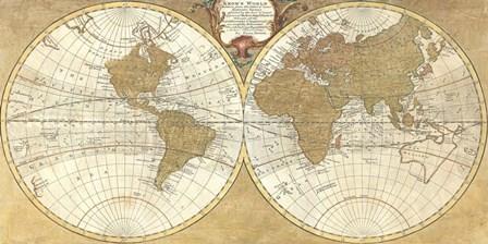 Gilded World Hemispheres I by Joannoo art print