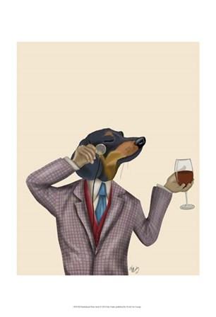 Dachshund Wine Snob by Fab Funky art print