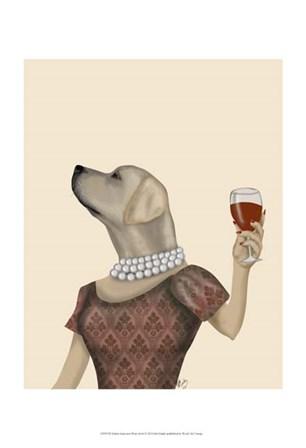 Yellow Labrador Wine Snob by Fab Funky art print