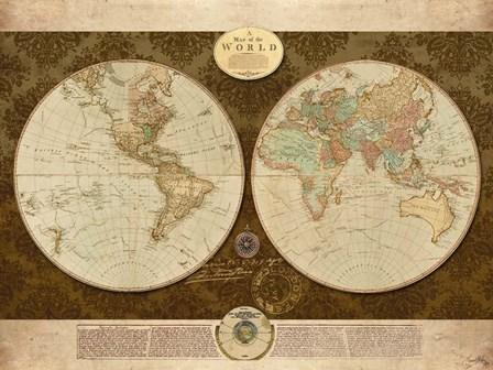 Map of World by Elizabeth Medley art print