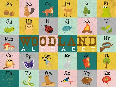 Woodland Alphabet (horizontal) by Josefina art print