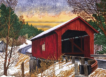 Sunset At The Old Bridge, Vermont by Thelma Winter art print