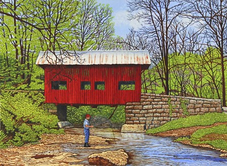 Fishing At Devil's Den Bridge by Thelma Winter art print