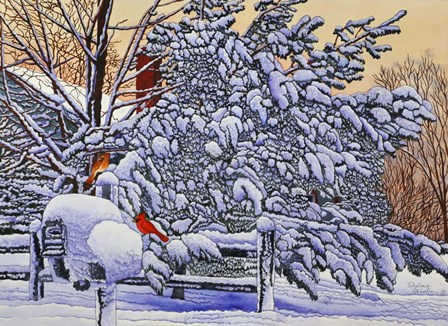 Cardinals At The Mailbox by Thelma Winter art print