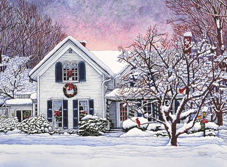 Christmas Cardinals, Orchard Park, NY by Thelma Winter art print