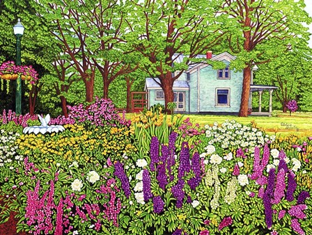 North Boston Road Flower Garden, Eden Ny by Thelma Winter art print