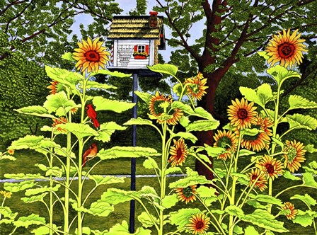 Sunflowers And Birdhouse by Thelma Winter art print