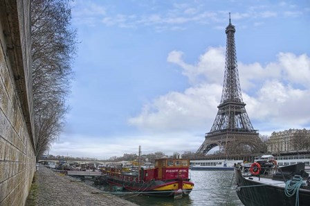 Eiffel Tower and Seine Boats in Paris by Cora Niele art print