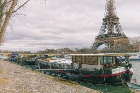 Eiffel Tower and Seine Qauy Paris by Cora Niele art print