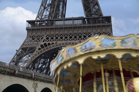 Eiffel Tower with Running Carousel by Cora Niele art print