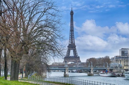 Eiffel Tower, Ile des Cygnes and Seine Paris by Cora Niele art print